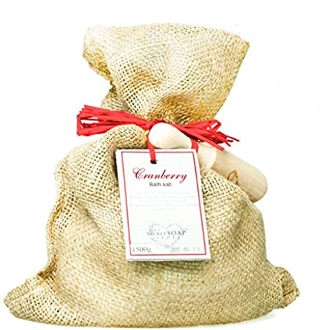 Sal de baño - Bath salts with cranberry (1500 g) in a jute sack with wooden scoop. Unique