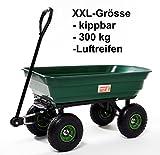 Gartenwagen mit Kippfunktion, 300 kg Tragkraft, Metall, Wanne, kippbar, Gartenkarre, Gerätewagen,...