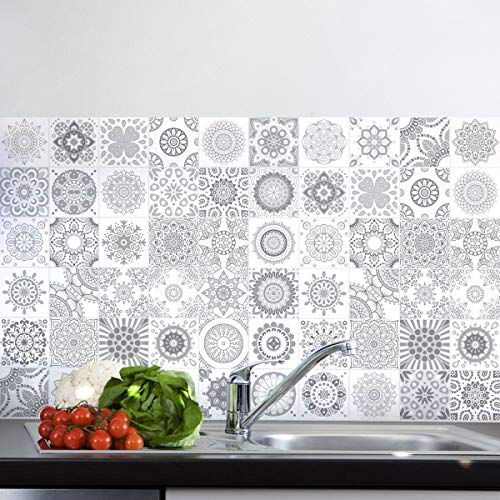 Ambiance-Sticker 60 Stickers Adhésifs carrelages | Sticker Autocollant Carrelage - Stickers muraux carreaux de ciment 10 x 10 cm - 60 Pièces