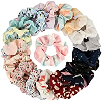 Belicia 12 Pcs Chiffon Hair Bands Ponytail Ties Hair Scrunchies Flower Hair Scrunchies Girl Hair Accessory, Great for…
