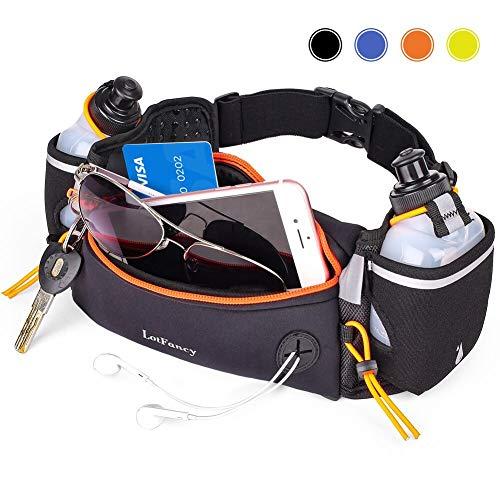 LotFancy Laufgürtel Trinkgürtel Bauchtasche Gürteltasche Hüfttasche mit 2 Trinkflasche (BPA Frei) Running Belt Komfortabel und Atmungsaktiv für Marathon, Jogging, Radfahren, Camping - Orang