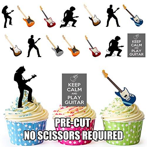 vorgeschnittenen Keep Calm & Gitarre spielen Party Pack–Essbare Cupcake Topper/Kuchen Dekorationen (36Stück) (Akustik-volle Größe-gitarre)
