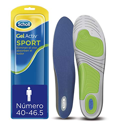 Scholl Plantillas Gel Activ Sport Hombre para Zapatillas Deportivas, 40-46.5, 1 par