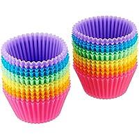AmazonBasics - Moldes de horneado, reutilizables, de silicona - Pack de 24