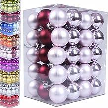 60 Weihnachtskugeln Box Christbaumschmuck aus Kunststoff (matt & glänzend) - Farb und Größenwahl -