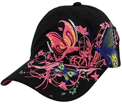 Belsen Mädchen Schmetterlings-Stickerei- Vintage Baseball Cap Snapback Trucker Hat (Erwachsene schwarz)