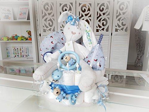 Windeltorte XXL - Spieluhr + Schnullerkette & Greifling mit Namen - Geschenk, Babyparty, Geburt oder Taufe + auf Wunsch, gratis Grußkärtchen (Junge, Schnullerkette + Greifling, Spucktuch, Schnullertasche)