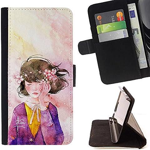 Momo Phone Case / Flip Funda de Cuero Case Cover - Guirnalda del Arte de la acuarela púrpura - LG G4c Curve H522Y (G4 MINI), NOT FOR LG G4