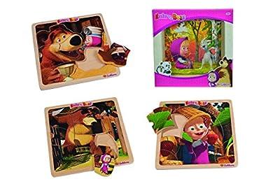 Mascha und der Bär Einlegepuzzle 8-teilig, 4-sort. - 20x20cm - Puzzle mit 7 Einlegeteilen