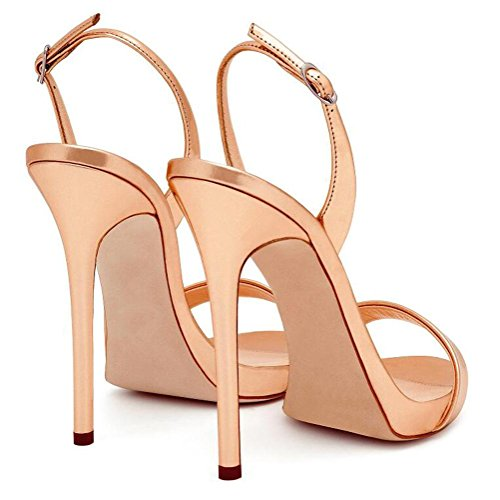 L@YC Weibliche High Heels Plattform Damen Knöchel Gürtel Ball Partei Sandalen Größe Champagne