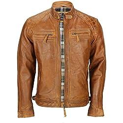 Chaqueta de piel suave (lavable), para hombre, de color marrón, estilo vintage, y con cremallera frontal, ideal para motociclistas Marrón marrón XXXX-Large