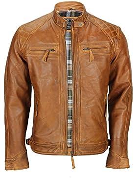 Chaqueta de piel suave (lavable), para hombre, de color marrón, estilo vintage, y con cremallera frontal, ideal...