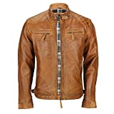 Xposed Vera Pelle Morbida Washed Tan Marrone ruggine Antico Vintage con Cerniera Uomo Smart Casual Biker Jacket Brown 6X-Large