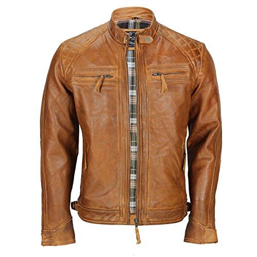 Herren Weiches Echtes Leder antik Washed Tan Rost Braun Vintage mit Reißverschluss Smart Casual Biker Jacket, Braun, 5XL