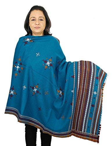 châle à la main pour les femmes, en laine brodée de l'Inde 213 x 91 cm