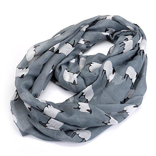 lureme®Tier Schafe Voile leichte Unendlichkeit Schal(01003495) (grau)