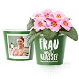 Frau mit Klasse! Blumentopf (ø16cm) | Geschenk für Lehrerinnen zum Abschied Schule mit Rahmen für zwei Fotos (10x15cm) | Unsere liebste Lehrerin!
