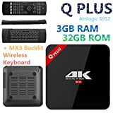 Android 7.1 TV Box f Plus CPU 3 GB + 32 GB Amlogic S912 Octa-Core 2.4 GHz/5.0GHz WiFi Bluetooth 4.0 4 K Media Player + MX3 Hintergrundbeleuchtung Wireless Tastatur