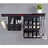 CPDZ Haushalts-Küche Messer und Gabelstapler Stainless Steel Hanging Rack Gewürz-Tools mit 2 abnehmbaren S-Haken, Pot Pan, Löffel, Hackbrett (schwarz)