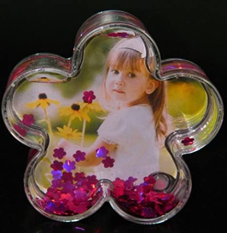 Funky Snow Globe Glitter Flower Photo Picture Frame MY-2218