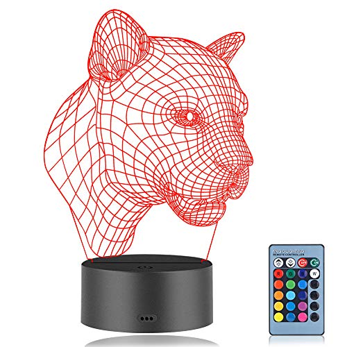 3D Optical Illusion Lampe, Coquimbo Leopard 3D Illusion Licht, 7 Modelle Touch Control Optical Illusion mit Ladekabel, Für Schlafzimmer Home Hochzeit Geburtstag Valentine Geschenk -