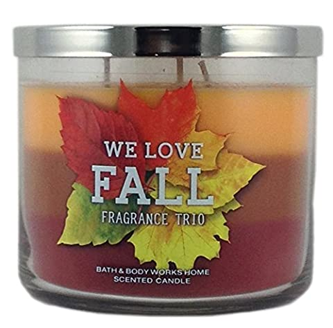 Bath & Body Works Home We Love Fall! Fragrance Trio Scented Candle 3 Wick 14.5 Oz Limited Edition 2015 Scent Layers of Sweater Weather Sweet Cinnamon Pumpkin Pumpkin Apple by Bath & Body Works Home