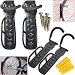 Hillington ® Pack of 4 Wall Mounted Vertical Bike Hook - Set of Heavy Duty Space Saving Secure Tire and Wheel Hook Rack for Bicycle Wall Storage Rack - Universal Secure Bracket Size Suitable for Hanging most Bikes - Protects Frame and Paint from Damage