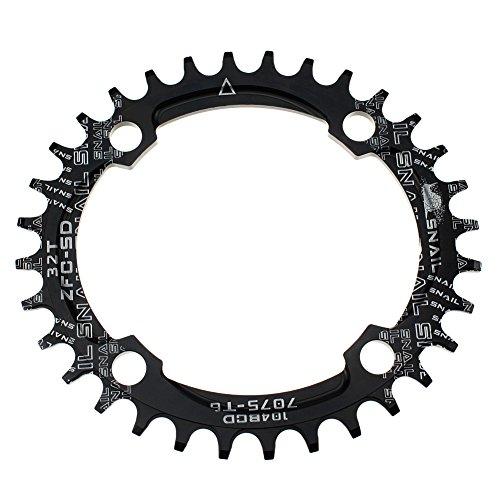 Oval Kettenblatt 32Z fomtor Ultralight Single schmal Breite Kette Ring für die meisten Fahrrad Road Bike Mountain Bike BMX MTB Fixie Track Helden Fahrrad (104BCD, schwarz)