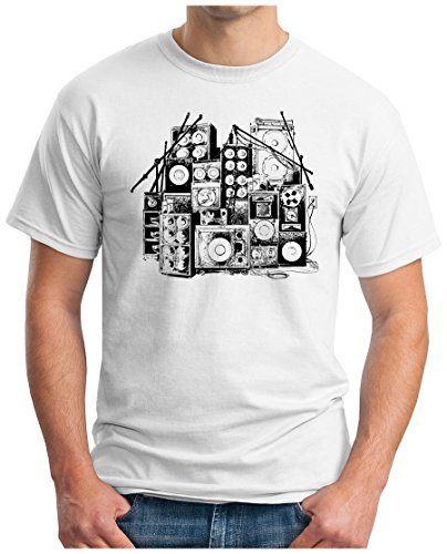 OM3 - MUSIC BOX - T-Shirt DJ BOOM Rockabilly Rap Hip Hop House Rock PUNK INDIE RnB, L, Weiß (Punk-rock-retro-t-shirt)