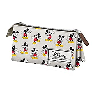 Mickey Mouse- Disney Classic Mickey Estuche portatodo Triple, Color Beige, 24 cm (Karactermanía 33608)