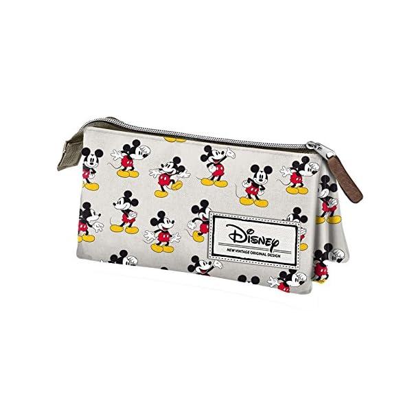 Mickey Mouse- Disney Classic Mickey Estuche portatodo Triple, Color Beige, 24 cm (Karactermanía 33608)
