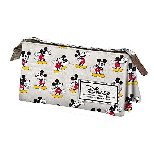 Mickey Mouse Disney Classic Mickey Estuche portatodo Triple, Color Beige, 24 cm (Karactermanía 33608)