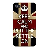 Hat Shark Apple Iphone Custom Case 4 4S White Plastic Snap On - Keep Calm And Put The Kettle On Uk National Flag