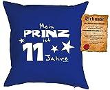 Geschenk für Kinder Kissen mit Füllung und Urkunde Meine Prinz ist 11 Jahre Kindergeburtstag für Jungen 11 jähriges Kind für Kids