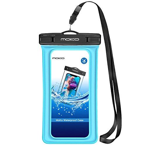MoKo Schwimmende Wasserdichte Handyhülle,Unter Wasser Handytasche, Schneegeschützte Handy Beutel mit Schlüsselband für iPhone X/Xr/XS Max/8/7/6S Plus, Samsung S9/S8, S7 Edge, Huawei bis zu 6.5 Zoll