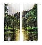 Lemare Vorhang Blickdicht Digitaldruck Bäume am Fluss 2X 145x260 cm