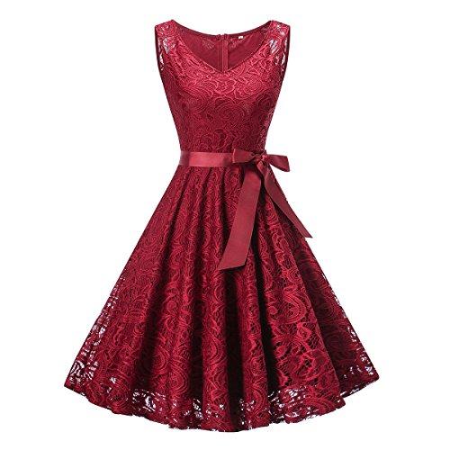 Damen Spitze V-Ausschnitt Rockabilly Kleid Abendkleider mit Bowknot Festliches Cocktailkleider...