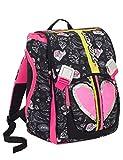 Zaino scuola SEVEN - HEART GIRL - Nero Rosa - estensibile - 28 LT - elementari e medie - patch paillettes reversibili - inserti rifrangenti