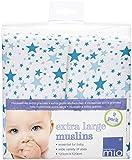 Bambino Mio, Swaddling Blankets, Blue Stars, 2 Pack