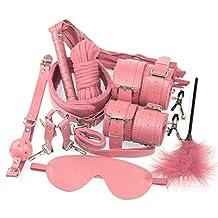Sexy pluche 10-delige set Flirtende lederen handboeien Koppels alternatief speelgoed (roze)