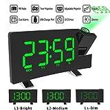 ALLOMN Reloj Despertador de Proyección, Reloj Despertador Digital FM Radio con Pantalla Curva/Proyección de Tiempo/Proyector Ajustable/Posponer/Alarmas Dobles/Puerto de Cargador USB/12/24H (Verde)