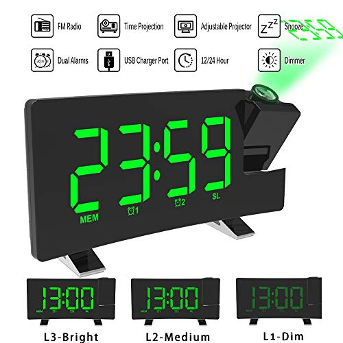 ALLOMN Projektionswecker, Digitaler FM Wecker Curved Screen FM Radio/Zeitprojektion/Einstellbarer Projektor/Schlummer/Doppelalarm/USB-Ladeanschluss / 12/24-Stunden/Dimmer (Grün)