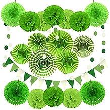 Zerodeco Decoración de la Fiesta, 21 Piezas Verde Abanicos de Papel Bola de Nido Pom