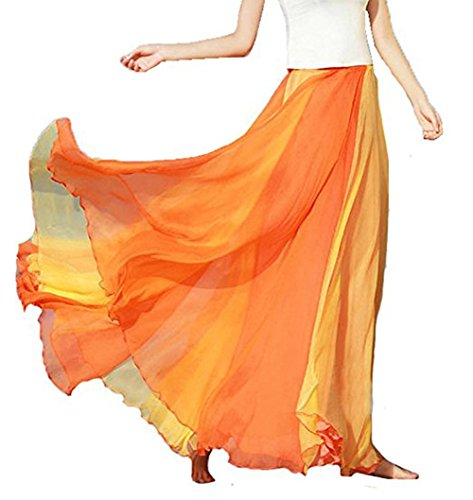 MOONIGHT Frauen böhmische Baumwolle Leinen Double Layer elastische Taille langen Maxi Rock (XL: Taille 76-125cm, Orange) (Double-layer-chiffon-rock)