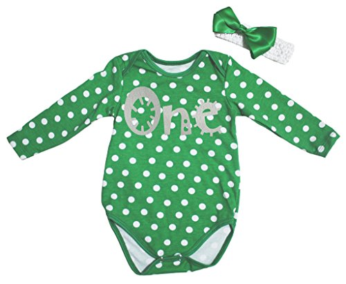 St Patrick Day Dress Sliver One Green L/s Jumpsuit Bodysuit Baby Romper Nb-18m (6-12 Monat) (St Patricks Day Baby Mädchen Outfit)