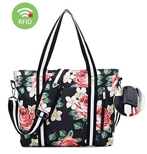 Preisvergleich Produktbild Laptop Tote Bag für Frauen, Laptop Messenger Schultertasche Tasche 17 zoll, Reisen Einkaufen Duffel Aktentasche Tasche (Schwarz)