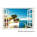 Adesivo da Parete Poster 3D Finestra sul Oceano Paesaggio 60x90cm Rimovibile