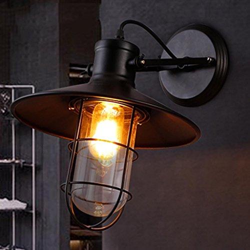 Nordic Rétro Style Industriel Applique Fer Forgé Simple Tête Mur Lampe Restaurant Bar Loft Balcon Décoré Lampes, Lumière E27 * 1, Taille 27 * 30 cm