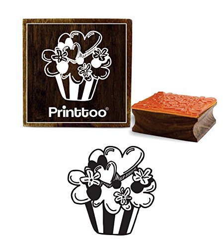 Printtoo Cup Platten Muster Square Holz Stempel Craft Tagebuch Karte Block-4 x 4 Zoll 4in Square Platte