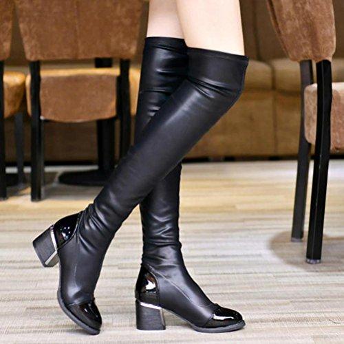 Flache Stiefel für Frauen, cinnamou Winter Herbst Overknee-Stiefel - Fashion Toe elastische Stretch Outdoor dicke Ferse Stiefel (37, Schwarz) (Booties Wildleder Zehe)